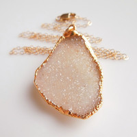 Druzy Necklace in Cream, OOAK