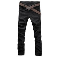 Amazon.com: Allegra K Mens NEW Trendy Casual Front Slant Pockets Slim Fitted Straight Trousers Black W31: Clothing