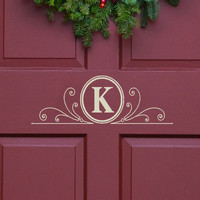 Vinyl Decal Monogram Letter with Scrolls Front Door Decor, mailbox Decals and personalized gifts