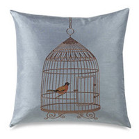 "Birdcage Blue 20"" Decorative Toss Pillow"