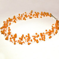 Orange Necklace. Wedding Necklace. Beadwork.  Multistrand Necklace.