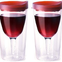 Vino2Go Double Wall Insulated Acrylic Wine Tumbler with Merlot Slide Top Open/Close Drink