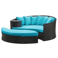 LexMod Taiji Outdoor Rattan Daybed with Ottoman