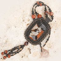 Agate Drusy Bead Embroidered Gemstone Crystal Necklace Copper Black