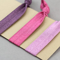 Ribbon Hair Elastics : Set of Three Elastic Ribbon Hair Ties, Ponytail, Bun, Top Knot, Bracelet, Purple, Maroon, Pink