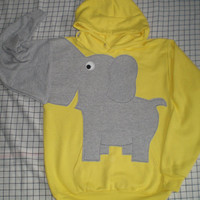 Elephant trunk sleeve HOODiE SUNSHINE YELLoW  UNISEX Medium