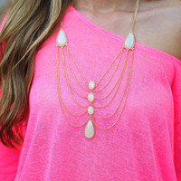 Chandelier Necklace: Ivory/Gold | Hope&#x27;s