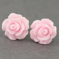 Flower Stud Earrings  Pastel Pink Rose Flower Stud by ArtisanTree