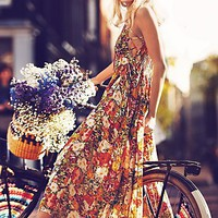 Free People FP ONE Criss Cross Florals Maxi Dress