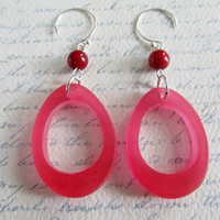 Raspberry pink resin dangle earrings with red coral and sterling silver