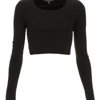 Petite Long Sleeve Crop Tee - Topshop USA
