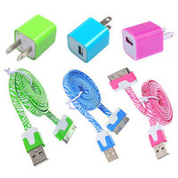 jullygo — [Grdx02048]6pcs/Lot! 3PCS USB Data Cable Cord 3PCS Power Adapter ChargerIphone 4/4s