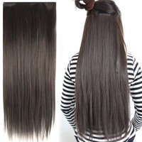 "Fashionable 23"" Straight Full Head Clip in Hair Extensions - Dark Brown"