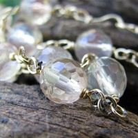 Gold Filled Artisan Necklace, Faceted Pink Oregon Sunstone, Handmade