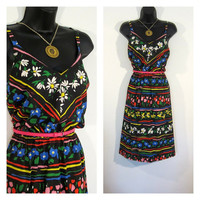 Festival Floral Dress 60s/70s Larger Size Boho Black n Bright Stripe Smocked Sundress Vintage TREASURY ITEM - Free Shipping