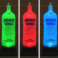 Big 1.75 Liter Absolut Vodka Color Changing LED Remote Controlled Eco Friendly rgb LED Bottle Lamp/Bar Light Bodacious Bottles-
