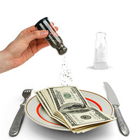 Kikkerland Design Inc   » Products  » Drowning In Debt Salt And Pepper Shakers