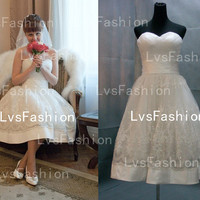 Tea Length Strapless Sweetheart Tulle and Lace Vintage Short Wedding Dresses, Bridal Gown, Beach Wedding Dresses