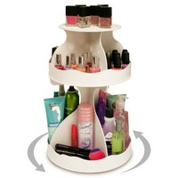 "Cosmetic Organizer that Spins ! Makeup is Now at Your Fingertips. Pretty in White & Perfect for any Countertop, Almost Triples Your Storage, Only 12"" needed & No More Clutter!! ...Proudly Made in the USA! by PPM.: Beauty"