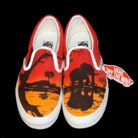 Hand Painted Vans  African Sunset by TKDealShoes on Etsy