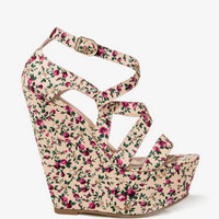Floral Print Wedge Sandals
