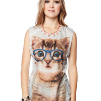 Papaya Clothing Online :: BEJEWELED GLASSES CAT GRAPHIC TOP