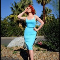 Jayne 1960s Sheath Wiggle Dress in Baby Blue | Pinup Girl Clothing