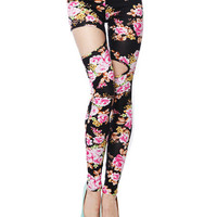 Papaya Clothing Online :: CUTOUT FLORAL LEGGINGS