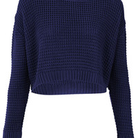 Knitted Textured Crop Jumper - Knitwear - Sale - Sale &amp; Offers - Topshop USA
