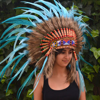 Indian Turquoise  Feather Headdress by THEWORLDOFFEATHERS on Etsy