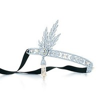 Tiffany &amp; Co. -  The Great Gatsby Collection headpiece in platinum with diamonds and pearls.