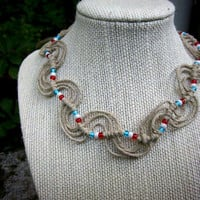 Natural Wave Knot Hemp Choker Necklace