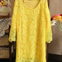 Fashionista Glam. Sunshine Yellow Full Lace Tunic Dress. Party Dress