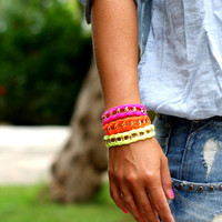 Chunky Chain & Color Bracelet. Bright Neon Palette.