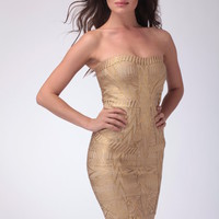 Golden Foil Bandage Dress