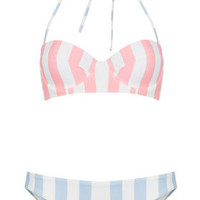 Pink Stripe Underwired Bikini - Swimwear  - Clothing
