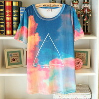 Retro Gradient Triangle Tshirt  fashion T