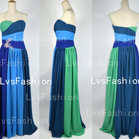 Long Strapless Sweetheart Chiffon Evening Dresses, Prom Dresses, Evening Gown, Party Dress