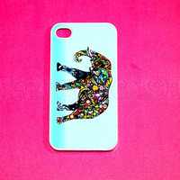 iphone 4 Case, iPhone 4s case Cute Flower Elephant iPhone 4 Cases, Iphone 4s Cover,Case for iPhone 4