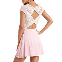 Lace Bow-Back Textured Dress: Charlotte Russe