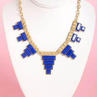 Tete-a-tetris Blue Statement Necklace