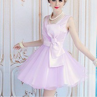 Purple organza bow waist sleeveless dress put on a large_Cute dresses_Dresses_Mili fashion Trade Co.Ltd