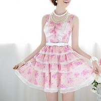 Pink Rose Chiffon mosaic white multi-flounced waist harness dress put on a large_Cute dresses_Dresses_Mili fashion Trade Co.Ltd