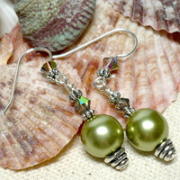 Olivine Czech Pearl and Swarovski Vitrail Crystal .925 Dangle Earrings