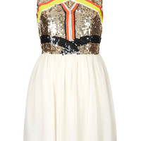Sequin Panel Skater Dress - Topshop USA