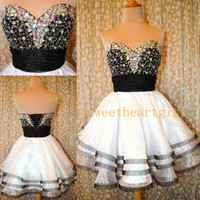 A Line Sweetheart knee Length White and Black Sexy Prom Dress