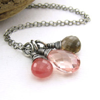 Peach Quartz Necklace Gemstone Pendant Smoky Quartz Rhodochrosite Jewelry Wire Wrapped Pendant Sterling Silver Fashion Jewelry - Ana No. 8