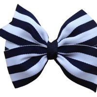 Navy blue striped hair bow - 4 inch bow