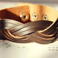 Spring Gift Unique Stylish Natural Soft Brown Carve Leather Cuff Adjustable Metal Button Wrap Bracelet  C-27