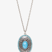 Faux Stone-Accented Locket Necklace